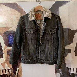 Levi's Sherpa Denim trucker jean jacket grey